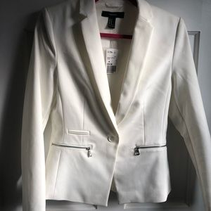 Forever 21 white blazer with zippers